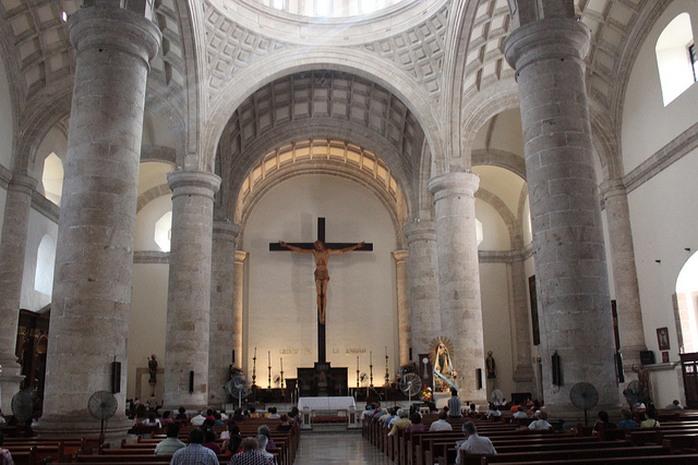 Inside the cathedra. Carved Maya stones from ancient T'ho were widely used to build the Spanish colonial buildings that are plentiful in downtown Mérida, and are visible, for instance, in the walls of the main cathedral.